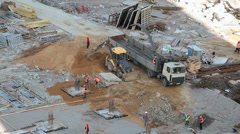 Construction site with basic level works Stock Footage