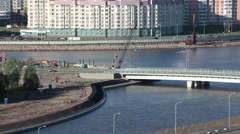 New sleeping quarters near the Duderhof channel, Saint-Petersburg, Russia Stock Footage