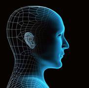 Transparent human head - stock illustration