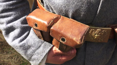 Bag for ammo belt soldier. The first world war. 4K. Stock Footage