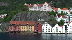 North Europe Norway City of Bergen 056 row of old houses at harborside Stock Footage