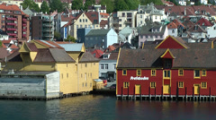 North Europe Norway City of Bergen 054 old wooden buildings in harbor Stock Footage