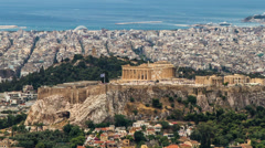 Acropolis Parthenon, Athens, Greece, Zoom Out , Timelapse Stock Footage