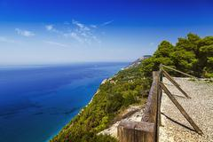 Stock Photo of seacliff with fence, viewpoint