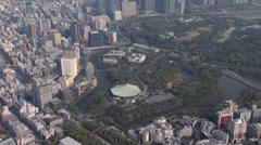Aerial Metropolitan Imperial Palace Kokyo Gaien National Garden Tokyo Stock Footage