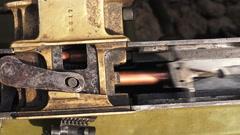 Shutter. Striking mechanism. The machine gun. The first world war. 4K. Stock Footage