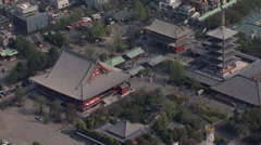 Aerial view Senso ji Temple Thunder Gate Buddhist Tokyo Stock Footage