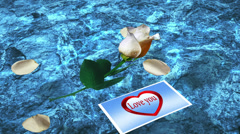 White Rose with Postcard Love you on a Blue Background Water Stock Footage
