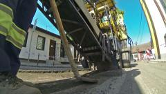 Milling of Asphalt for Road Reconstruction Stock Footage