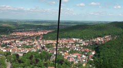 Aerial view by open seat cable car drive in Thale Stock Footage