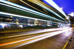 High traffic street in a rush-hour at night - stock photo