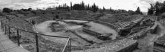 Panoramic picture of amphitheatre of merida Stock Photos