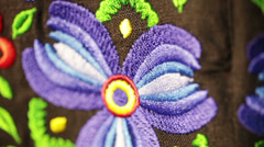 Detail Black shirt with embroidery Stock Footage