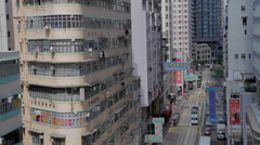 Medlim left aerial - wanchai road Stock Footage