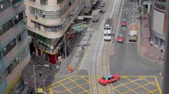 Birds eye view - wanchai road Stock Footage