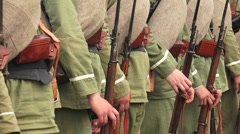 The guard of  Russian soldiers. The first world war. WWI. 4K. Stock Footage