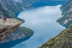 norway mountain trolltunga odda fjord norge hiking trail - stock photo