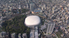Aerial Tokyo Dome Basketball Stadium Yomiuri Giants Japan Stock Footage