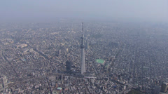 Aerial Tokyo Skytree digital TV broadcasting and observation Tower Japan Stock Footage