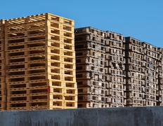 Stock of new wooden euro pallets at transportation company - stock photo