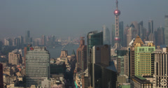 4K Shanghai View of the Bund, Pudong and Pearl Tower Stock Footage