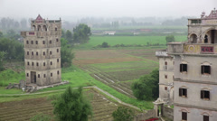 Kaiping Towers set in countryside china Stock Footage