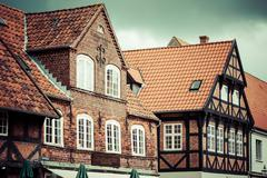 half timbered traditional house in ribe denmark - stock photo