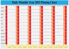 Planing chart of all daily monthly year 2015 Stock Illustration