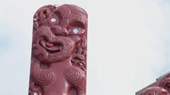 Maori carving tilt down Stock Footage