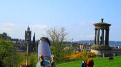Calton Hill Cannon, Edinburgh, Scotland Stock Footage