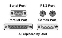 Compare ports, all replaced by usb, vector Stock Illustration