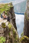 Pulpit rock at lysefjorden in norway. a well known tourist attraction Stock Photos