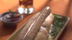 Hot dog with onion toppings! Stock Footage