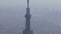 Aerial Tokyo Skytree TV observation Tower Sumida Japan Stock Footage