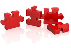 Four parts of a puzzle - stock illustration