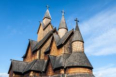 stave church heddal, norway - stock photo