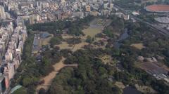 Aerial Hanami Shinjuku Gyoen National Garden Cherry Blossom Shinjuku Tokyo Stock Footage