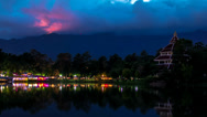 Stock Video Footage of Night Time lapse with colorful restaurant near the lake, Chiang Mai, Thailand