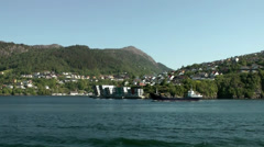 North Europe Norway City of Bergen 069 ship under a large bridge - stock footage