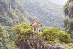Traditional Pavilion atop Cliff - stock photo