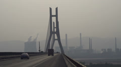 Traffic on Yellow River bridge Stock Footage