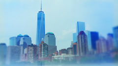 NYC financial district freedom tower tilt shift film style Stock Footage