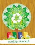 Ecology card design, segregation of garbage Stock Illustration