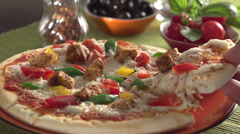 Hot & Spicy Chicken Pizza Stock Footage