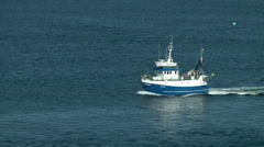 North Europe Norway City of Bergen 076 Norwegian fishing boat at sea Stock Footage