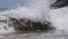 stock footage waves gush stones - stock footage