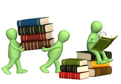 Puppets with books and loupe - stock illustration