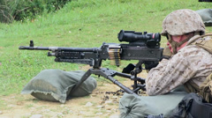 Browning M2 .50 Caliber Machine Gun and M240G Medium Machine Guns Stock Footage
