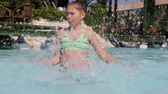 Children have fun in a swimming pool - stock footage
