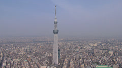 Aerial Tokyo Skytree digital TV observation Tower Japan Stock Footage
